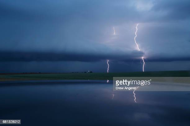 Cloud to ground lightning strikes during a supercell thunderstorm May 9 2017 in Lamb County Texas Tuesday was the group's second day in the field for...