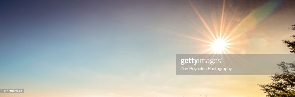 Cloud Typologies- As Pano With Sun Star : Stock Photo