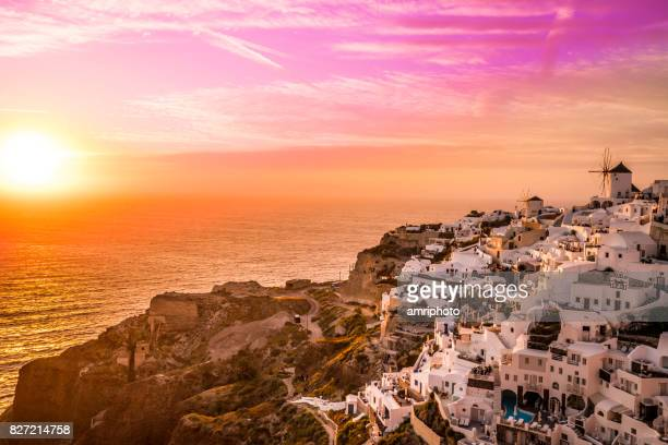 Cloud Typologies, colorful sunset sky over santorini