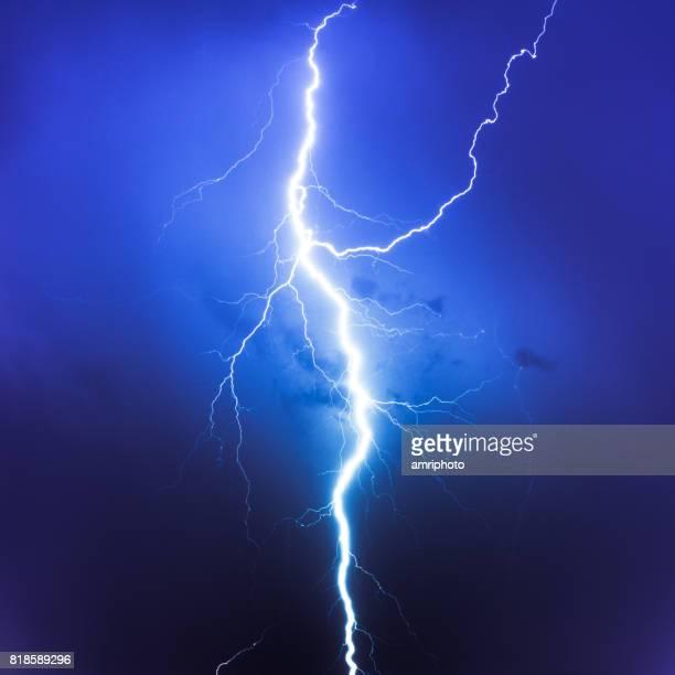 Cloud Typologies, lightning on blue sky