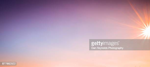 cloud typologies- pano with partial sun star - lens flare stock pictures, royalty-free photos & images