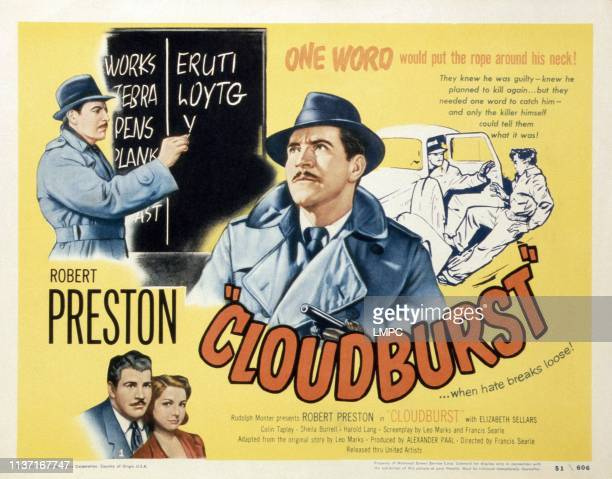 Cloudburst poster Robert Preston bottom from left Robert Preston Elizabeth Sellars 1951