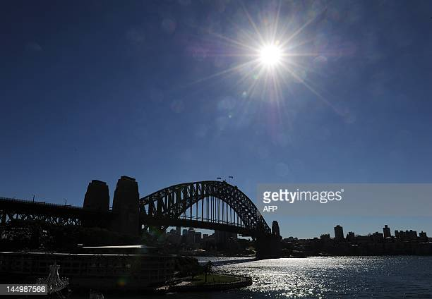 Cloudless blue skies surround the Sydney Harbour Bridge on May 22 2012 as the city experiences its driest May since records began in 1859 Sydney has...