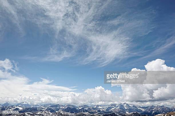 clouds and blue sky over mountain range