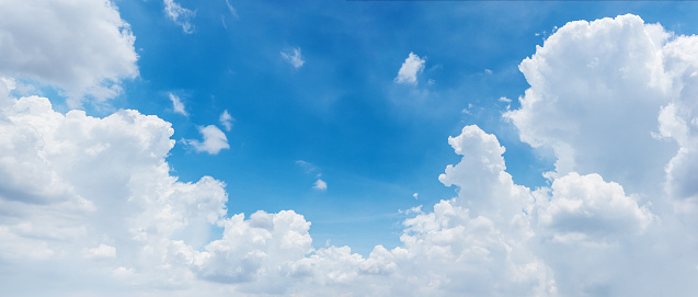 clouds and bright blue sky background, panoramic angle view 1026330454
