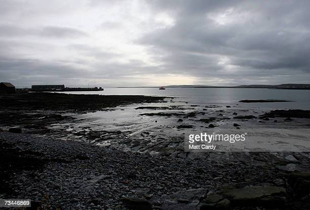 Clouds are reflected in the sea as the tide recedes on February 26 2007 in Inis Mor Ireland The largest of the remote three Aran Islands with a...