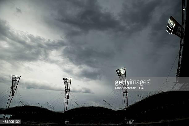 Clouds are seen overhead before the Big Bash League match between the Sydney Thunder and Hobart Hurricanes at Spotless Stadium on January 9 2015 in...