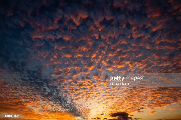 Clouds at dusk in the sky