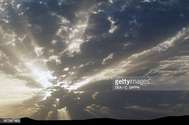 Clouds at sunset over the White Desert, Western or Libyan Desert.