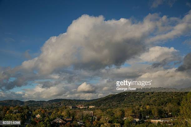 Clouds build along the nearby mountains after a brief rainstorm on October 22 2016 in Asheville North Carolina Named one of the Top 10 Great Places...