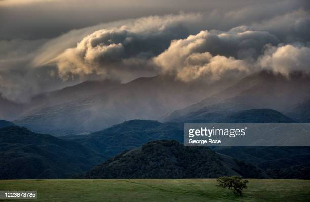 Clouds continue to pile up along the Santa Ynez Mountains following a series of late spring rain storms as viewed on March 22 near Santa Ynez,...