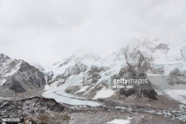 Clouds covering the view of Mount Everest in Nepal from Kala Pattar viewpoint