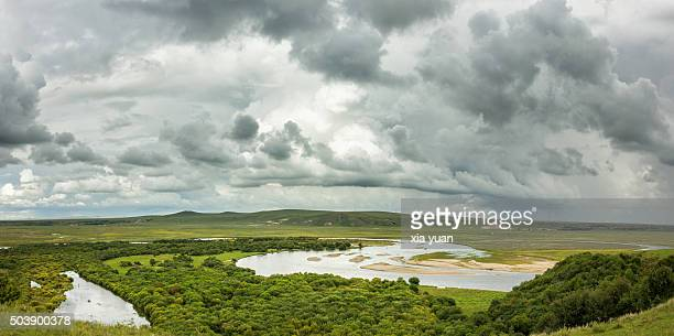 Clouds float above Hulunbuir Grasslands,Hulun Buir City,Inner Mongolia,China