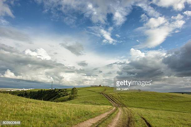 clouds float above hulunbuir grasslands,hulun buir city,inner mongolia,china - nuvoloso foto e immagini stock