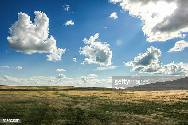 clouds float above hulunbuir grasslands,hulun buir city,inner mongolia,china - great plains stock pictures, royalty-free photos & images
