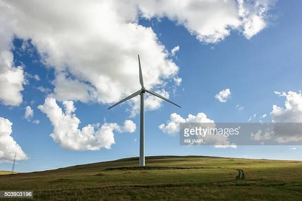 Clouds float above Wind Turbine on Hulunbuir Grasslands,Hulun Buir City,Inner Mongolia,China