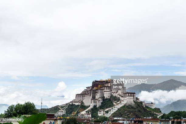 clouds flow in the sky at the potala palace in tibet - lhasa apso bildbanksfoton och bilder