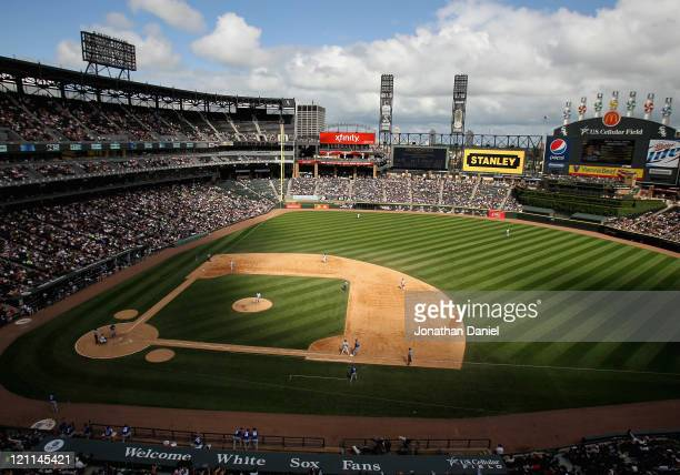 Clouds form shadows across the field during a game between the Chicago White Sox and the Kansas City Royals at US Cellular Field on August 14 2011 in...