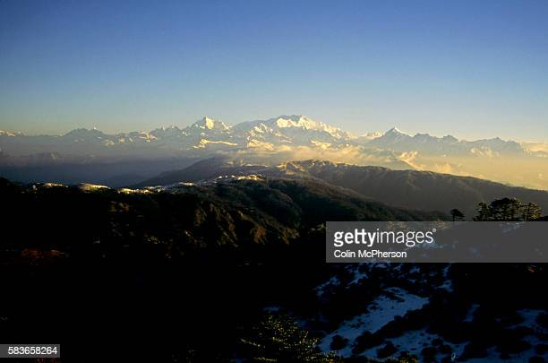 Clouds forming above Kangchenjunga as seen from Tashi Sikkim northern India Also known as Sewa Lungma it was the third highest mountain in the world...