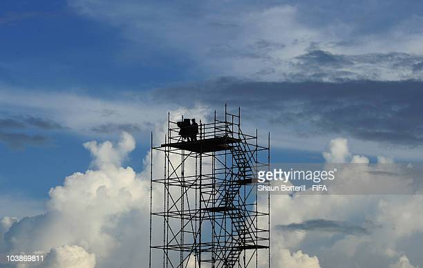Clouds gather behind the TV stand during the FIFA U17 Women's World Cup Group C match between Spain and Japan at the Ato Boldon Stadium on September...