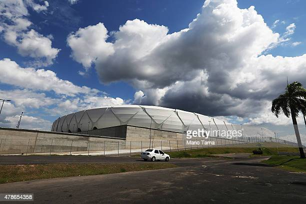 Clouds hang above the Arena de Amazonia June 26 2015 in Manaus Brazil The arena was constructed for $300 million as one of the host sites for the...