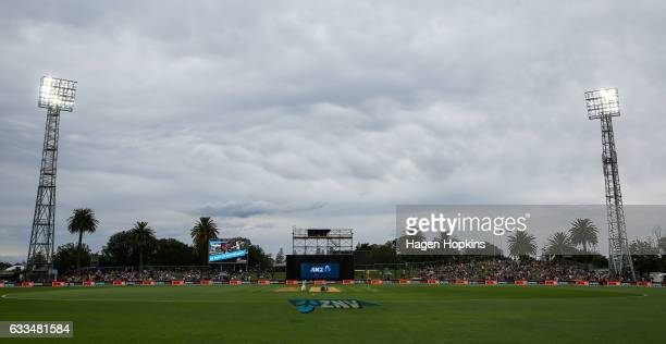 Clouds hang above the ground prior to game two of the One Day International series between New Zealand and Australia at McLean Park on February 2...