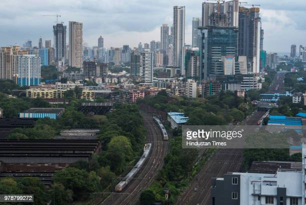 Clouds hover Mumbai skyline as visible from a highrise at Elphinstone on June 18 2018 in Mumbai India