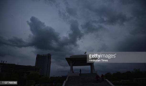 Clouds hover over Ramilia Ground on April 17 2019 in New Delhi India Strong winds accompanied by light rain lashed the Capital in the early hours as...