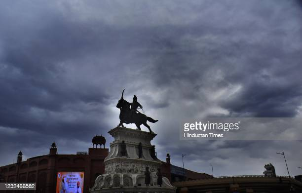 Clouds hover over the statue of Maharaja Ranjit Singh at Heritage street on April 22, 2021 in Amritsar, India.