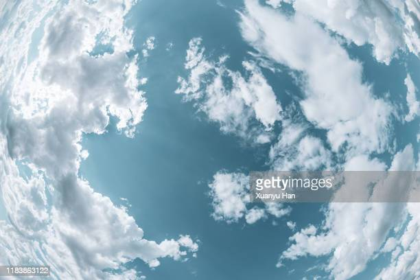 clouds in blue sky (fisheye lens) - fish eye lens stock pictures, royalty-free photos & images