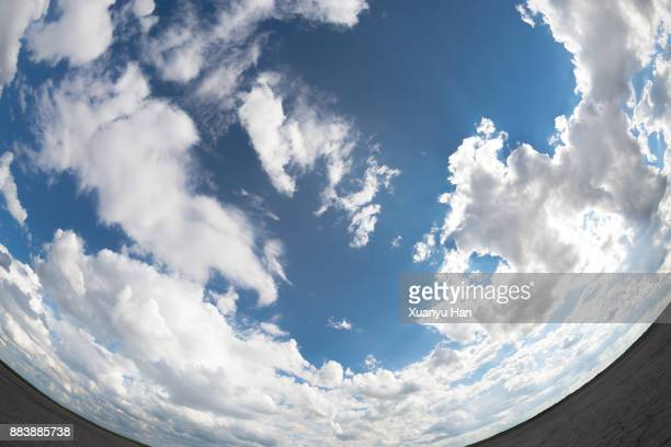 clouds in blue sky (fish eye) - fish eye foto e immagini stock