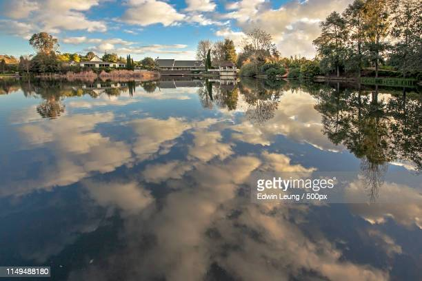 clouds in water - hamilton new zealand stock pictures, royalty-free photos & images