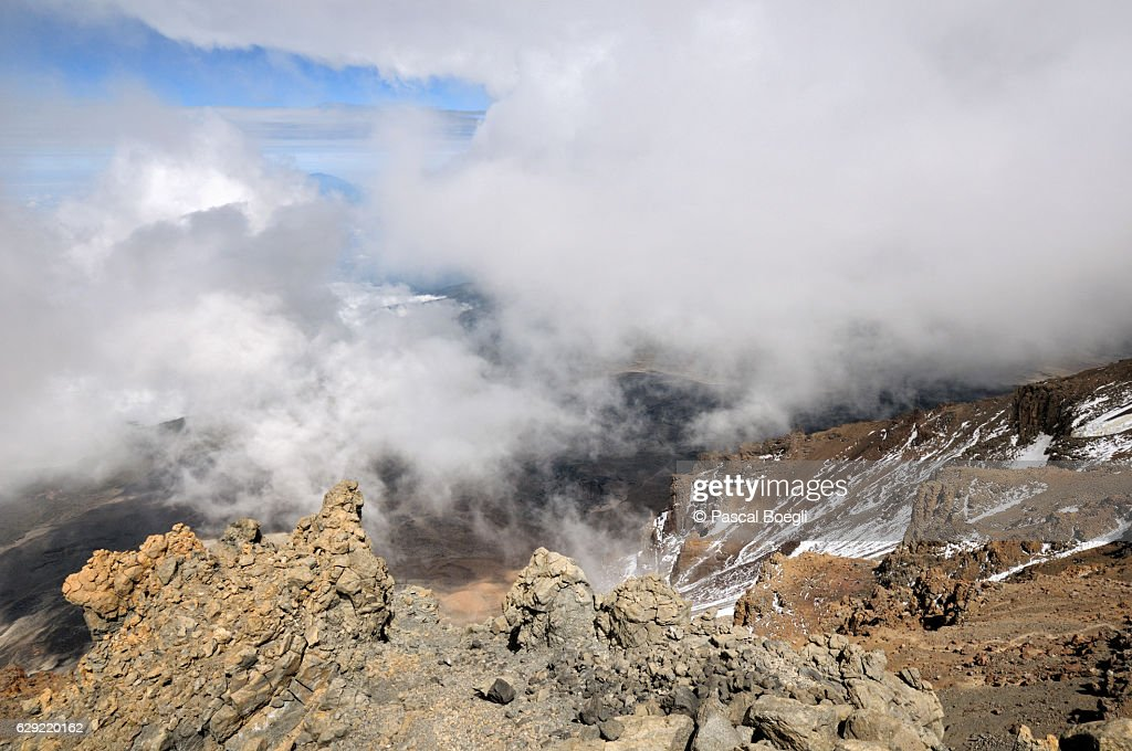Clouds invade the Western Breach, Kilimanjaro National Park : Stock Photo