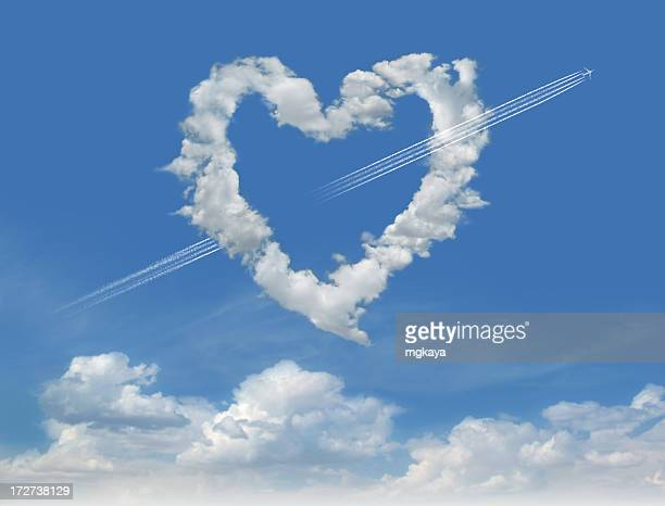 clouds of love 3 - heart month stock photos and pictures