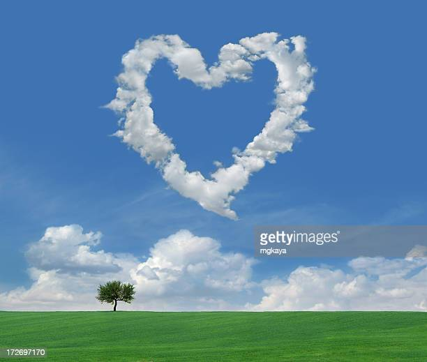 clouds of love 4 - heart month stock photos and pictures