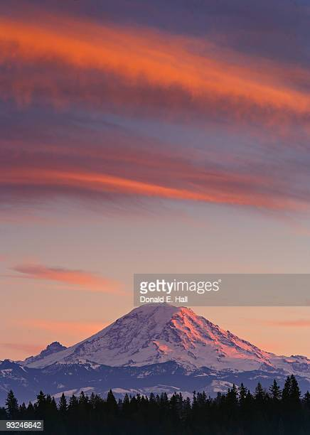Clouds on Fire Above Mt. Rainier