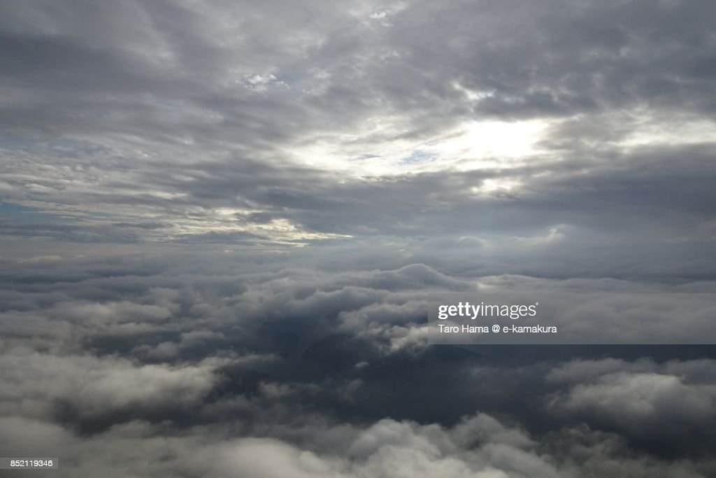 Clouds on Islands in Seto Inland Sea in Ehime prefecture daytime aerial view from airplane : ストックフォト