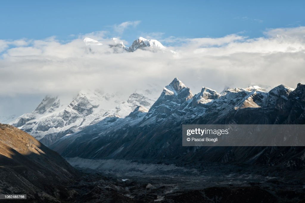 Clouds on Kangphu Kang, 7204 meters above sea level, Gasa District, Snowman Trek, Bhutan : Stock Photo