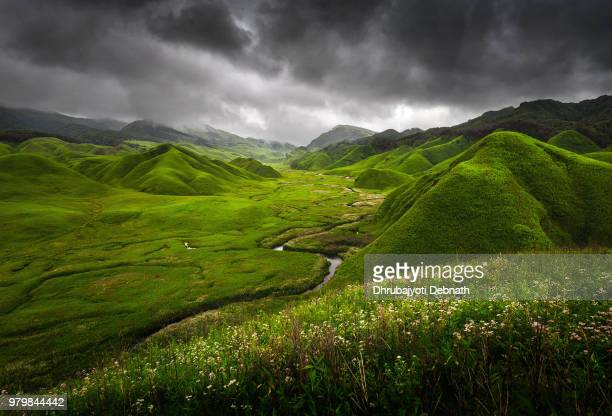 Clouds on sky over valley, Dzukou Valley, Manipur, India