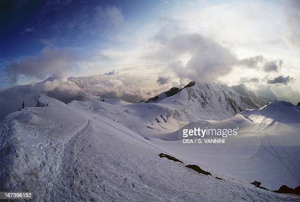 Clouds on the Lyskamm Monte Rosa massif Pennine Alps Valle d'Aosta region Italy