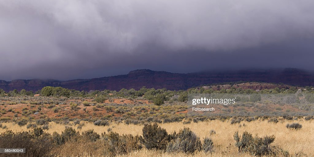 Clouds over a desert : Stock Photo