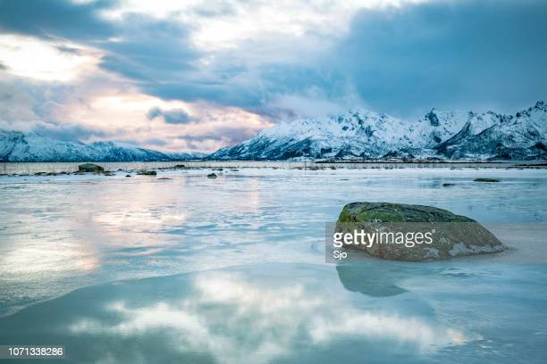 Clouds over a Fjord in the Vesteralen island in Northern Norway during winter