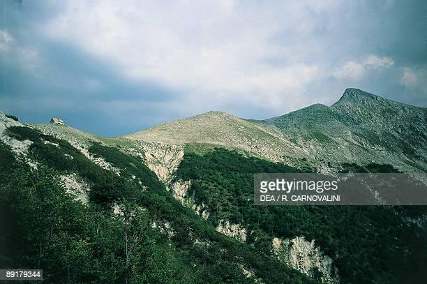 Clouds over a mountain, Monte Meta, Abruzzo National Park, Abruzzo, Italy
