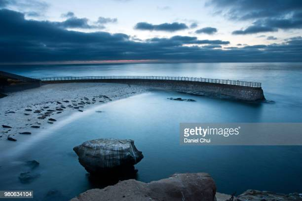 Clouds over blue sea at dusk, La Jolla, San Diego, California, USA