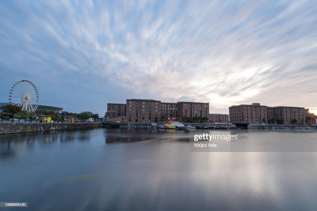 Clouds over cityscape, Liverpool, England, UK : Stock Photo