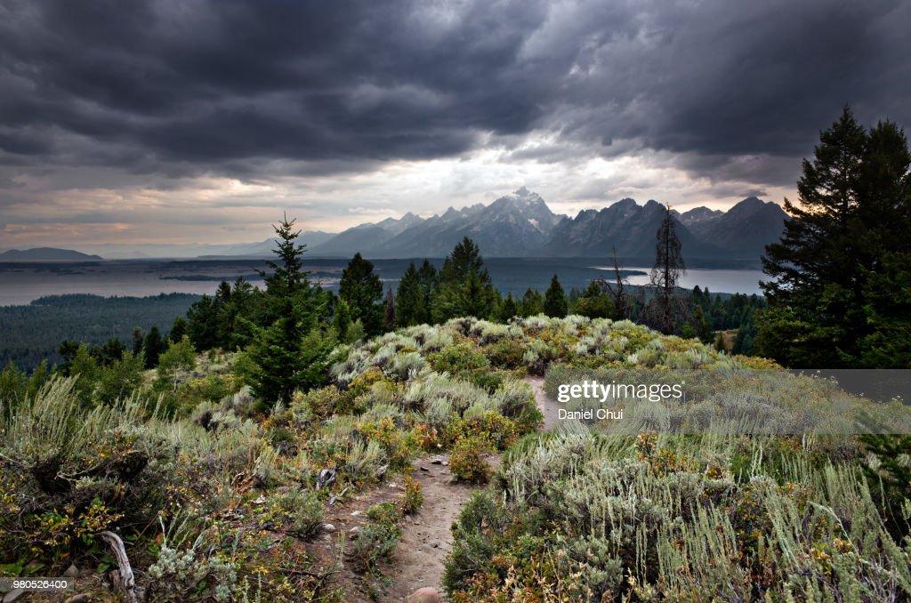 Clouds over Grand Teton, Teton, Wyoming, USA : Stock Photo