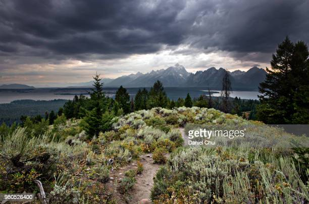 Clouds over Grand Teton, Teton, Wyoming, USA