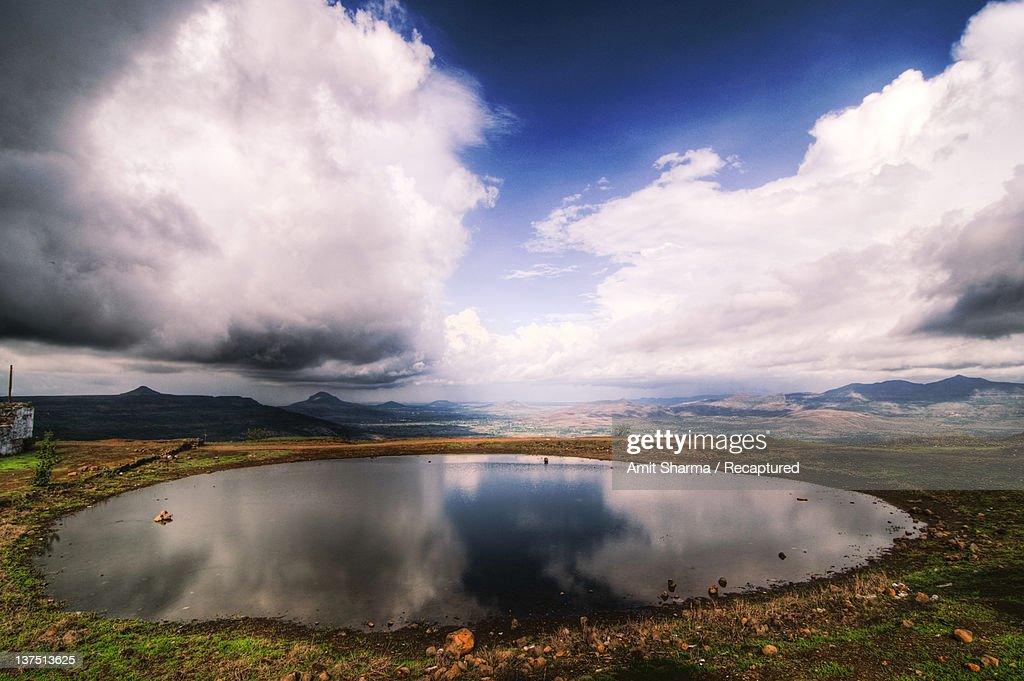 Clouds over lake at Lohagadh : Stock Photo