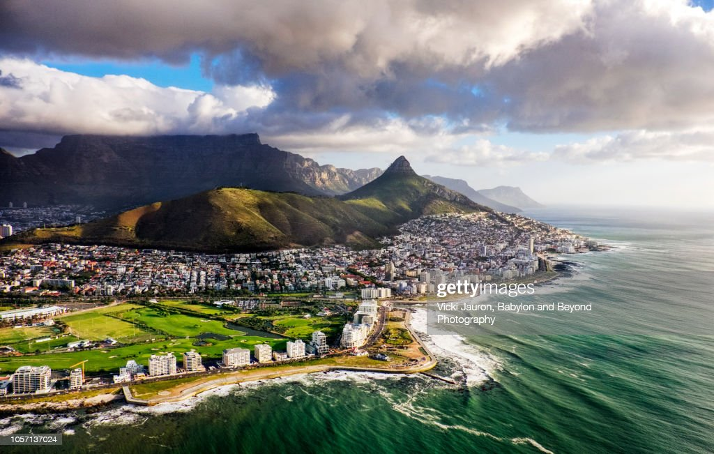 Clouds Over Lion's Head and Table Mountain from Helicopter : Stock Photo