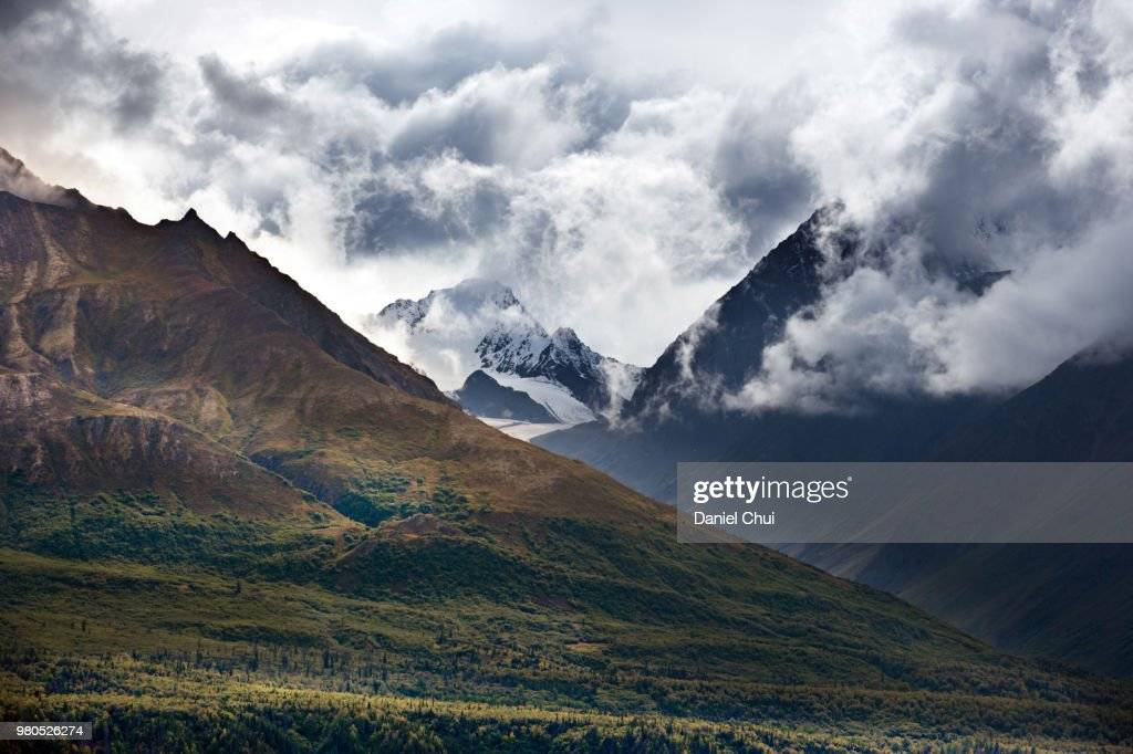 Clouds over mountain range, Sierra, Alaska, USA : Stock Photo